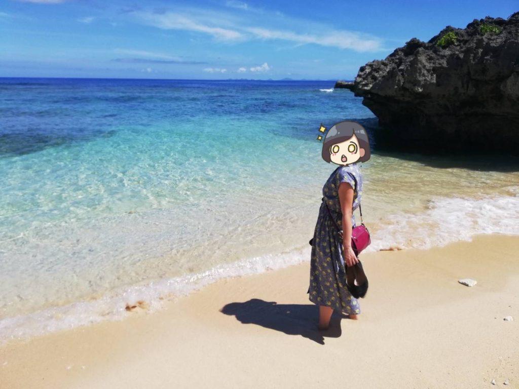 ハートロックがある海岸で見返り美人してみた