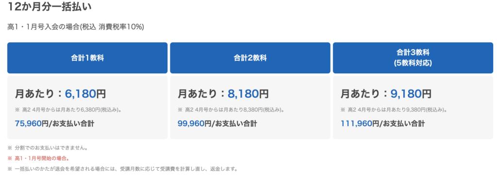 進研ゼミ高校講座料金