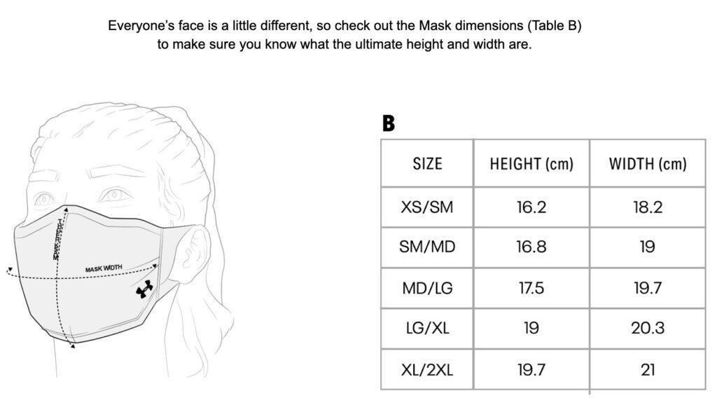 アンダーアーマースポーツマスクはサイズ選びを慎重に!